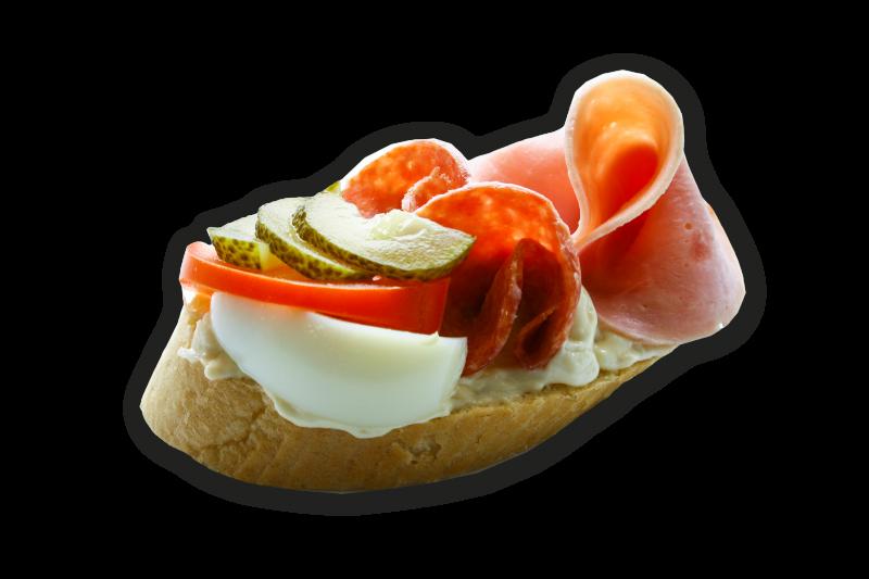 Chlebíček hermelínový se salámem